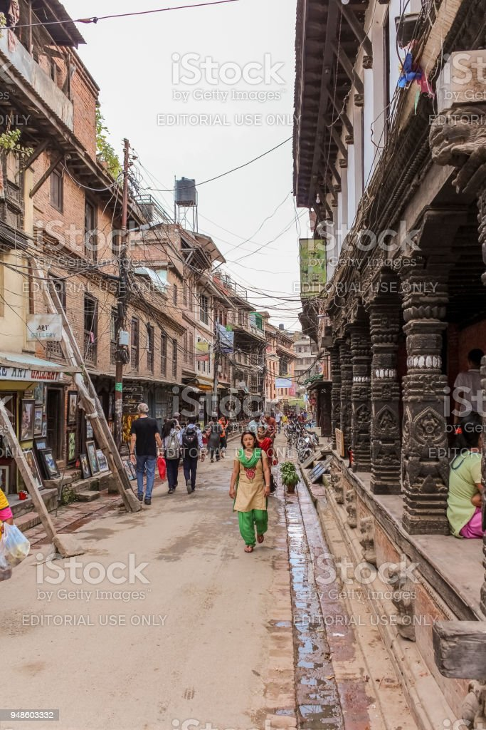 People walking in the streets of Lalitpur metropolitan city, Nepal stock photo