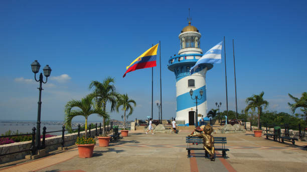 People walking near of the lighthouse on top of the Santa Ana hill. Santa Ana hill is one of the most important points of tourist interest in the city Guayaquil, Guayas / Ecuador - September 4 2016: People walking near of the lighthouse on top of the Santa Ana hill. Santa Ana hill is one of the most important points of tourist interest in the city alejomiranda stock pictures, royalty-free photos & images