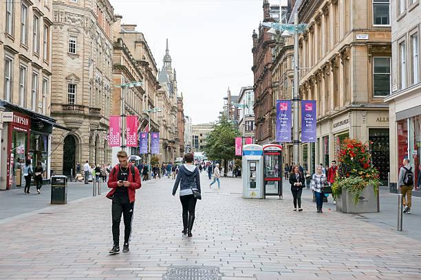 People walking on Buchanan shopping street, Glasgow stock photo