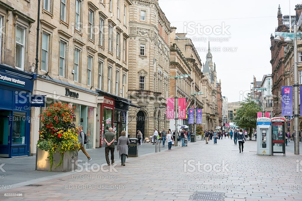 People walking on Buchanan shopping street, Glasgow stock photo