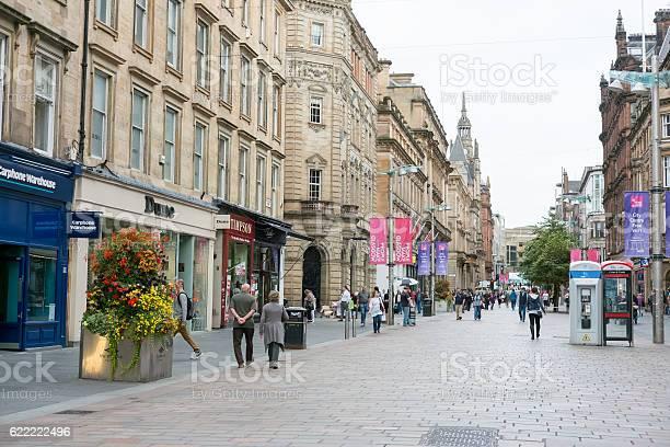 Glasgow, United Kingdom - September 17, 2016 : People walking on Buchanan shopping street