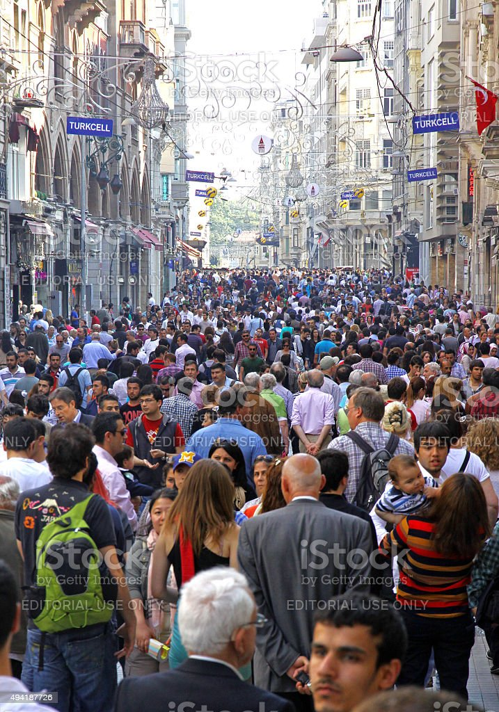 People walking on Istiklal Street in Istanbul stock photo