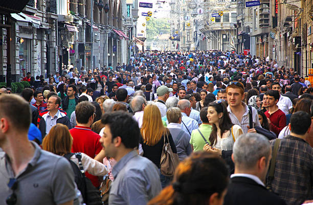 people walking on istiklal street in istanbul - istiklal avenue bildbanksfoton och bilder