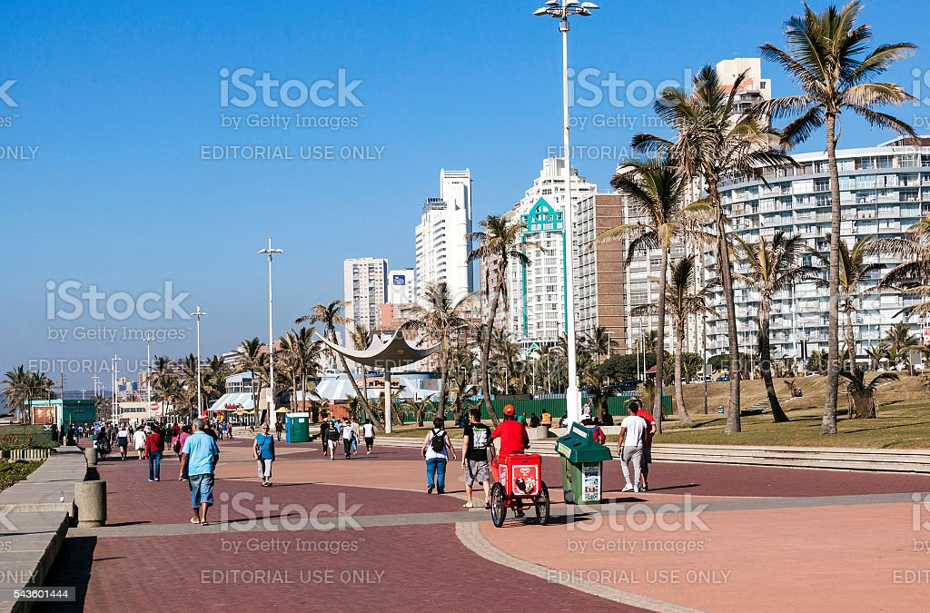 People Walking on Promenade in Durban 4 stock photo