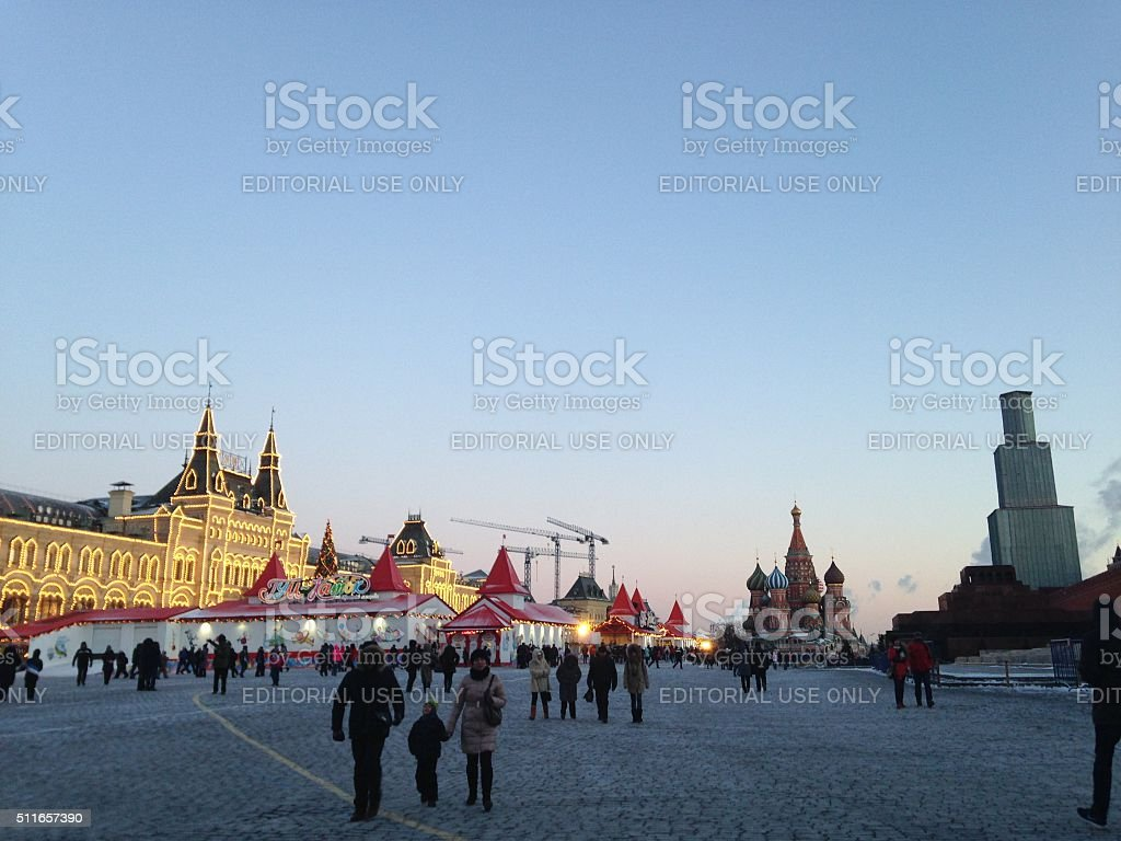 People Walking on Red Square during Winter Holidays. stock photo