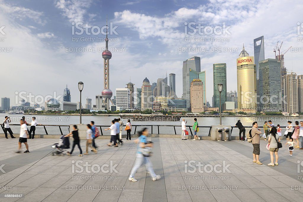 People walking on the Bund, Shanghai Skyline, China (XXXL) stock photo