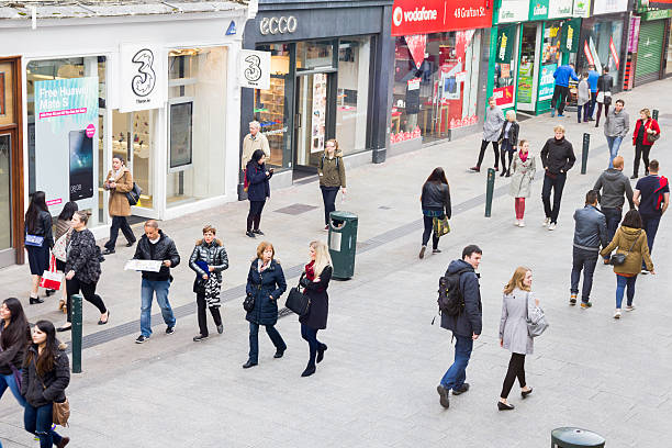 people walking on the grafton street, dublin - high up stock photos and pictures