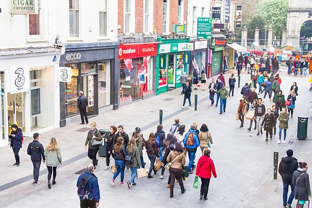 People walking on the Grafton Street, Dublin stock photo