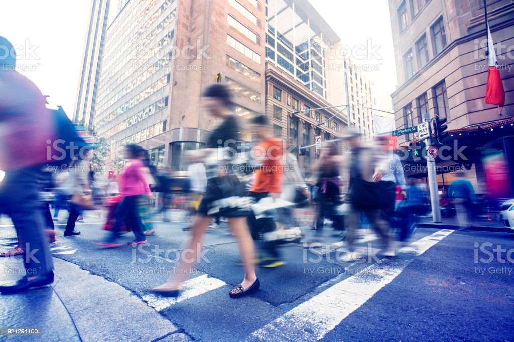 People walking on the streets of Sydney city stock photo