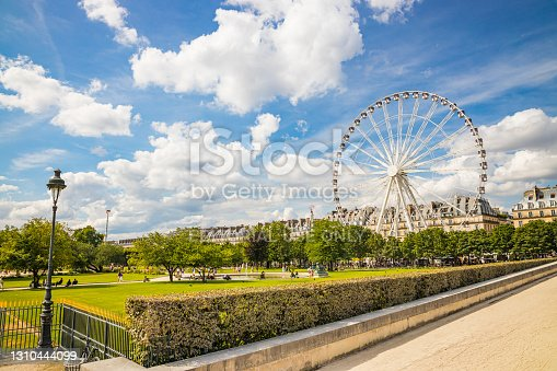 istock People walking on the Tuileries garden and the Concorde Ferris wheel in the background in Paris France on a Summer day 1310444099