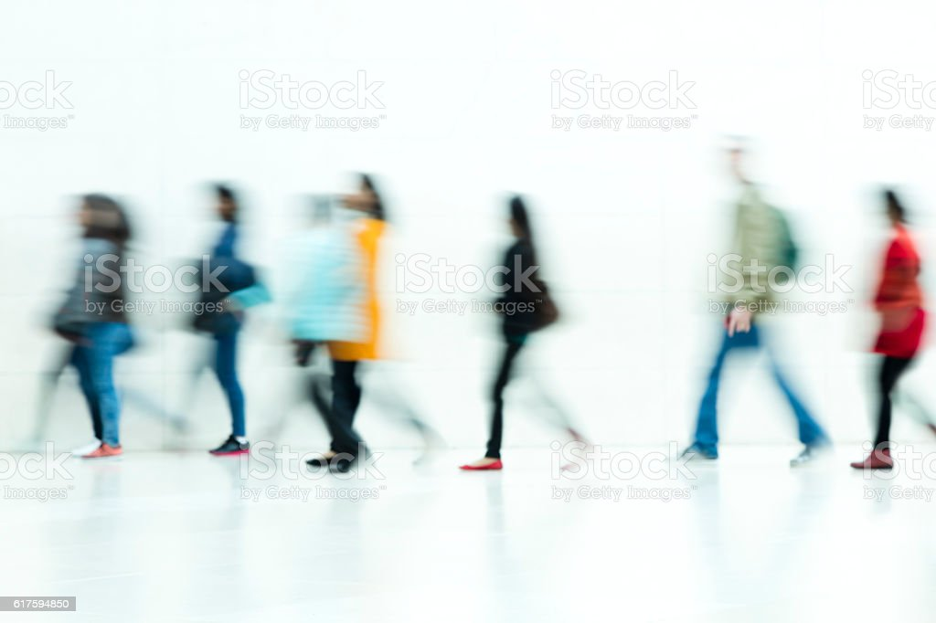People Walking on White Background, Motion Blur – Foto
