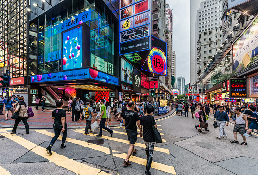 People Walking Shopping Causeway Bay Hong Kong Stock Photo - Download Image Now