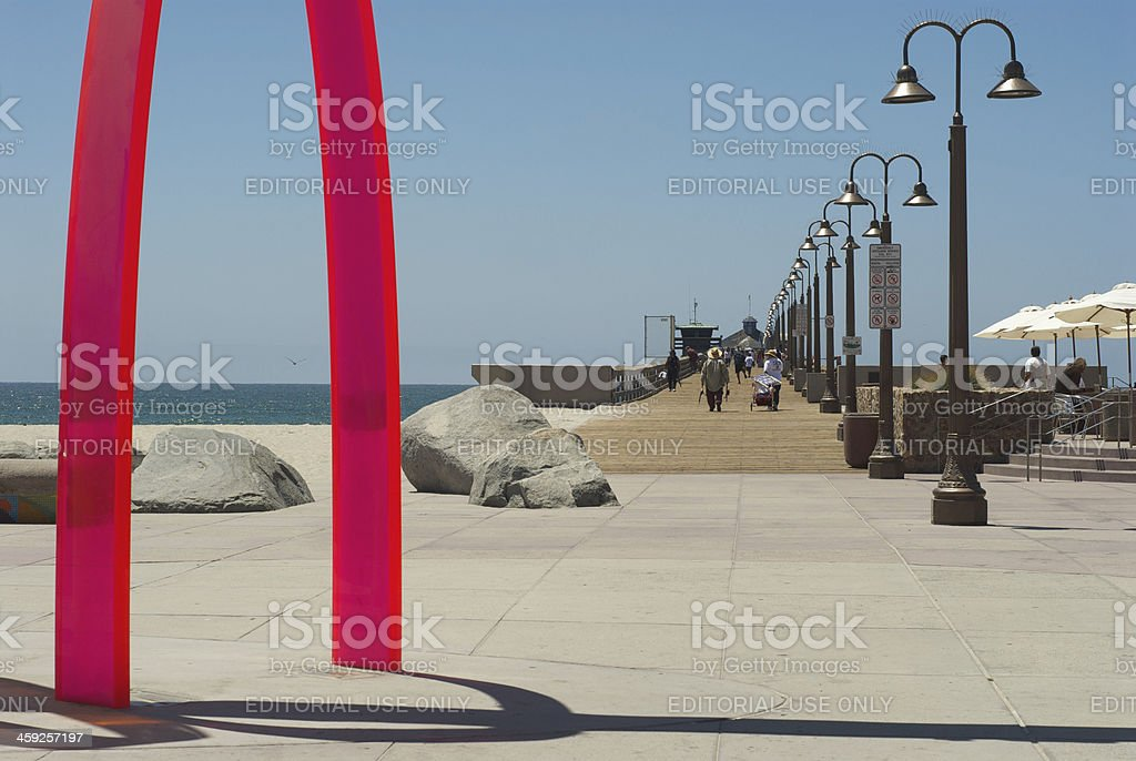 People walking the Imperial Beach Pier royalty-free stock photo