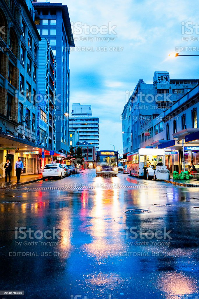 People walking the streets of downtown Auckland, New Zealand stock photo