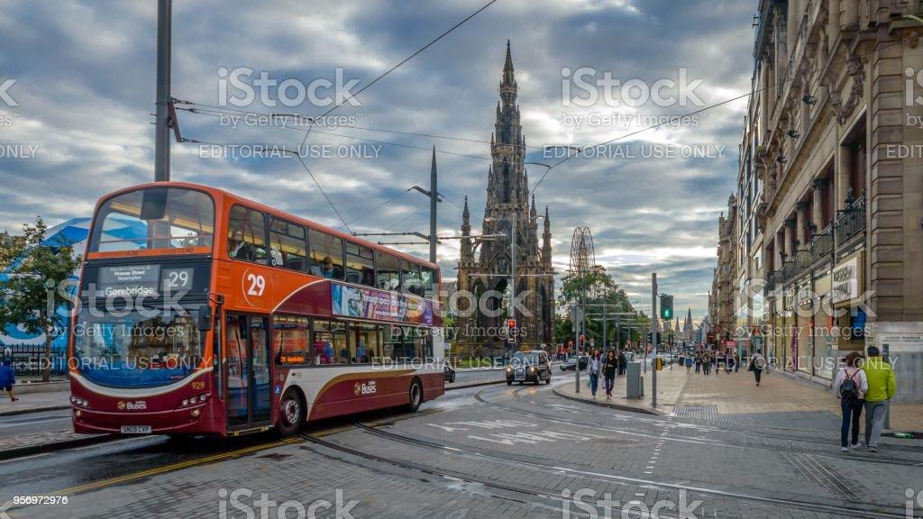 People walking though the streets of Edinburgh, Scotland stock photo
