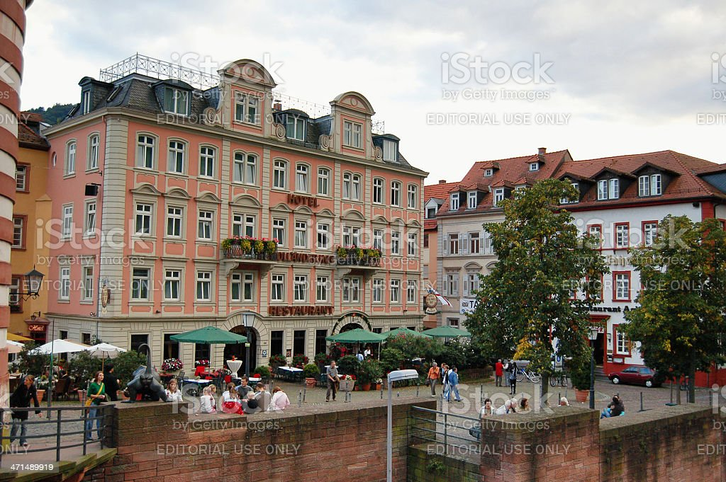 People walking through centre of Heidelberg (Germany) royalty-free stock photo