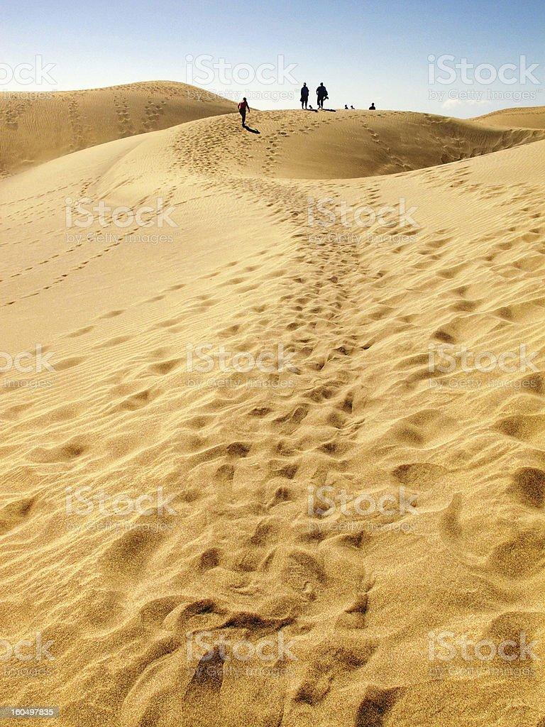 People walking through Sand Dune of Maspalomas (Gran Canaria) stock photo
