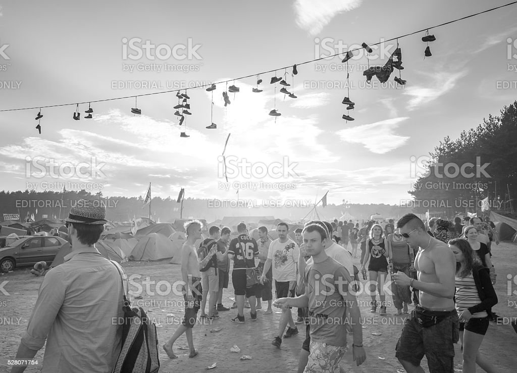People walking to the main stage. stock photo