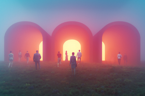 People walking towards mysterious tunnels. This is entirely 3D generated image.