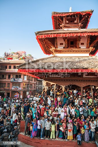istock People watch celebration of the Indra Jatra 1220967142