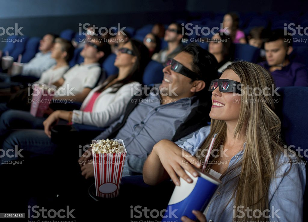 People watching a 3D movie stock photo