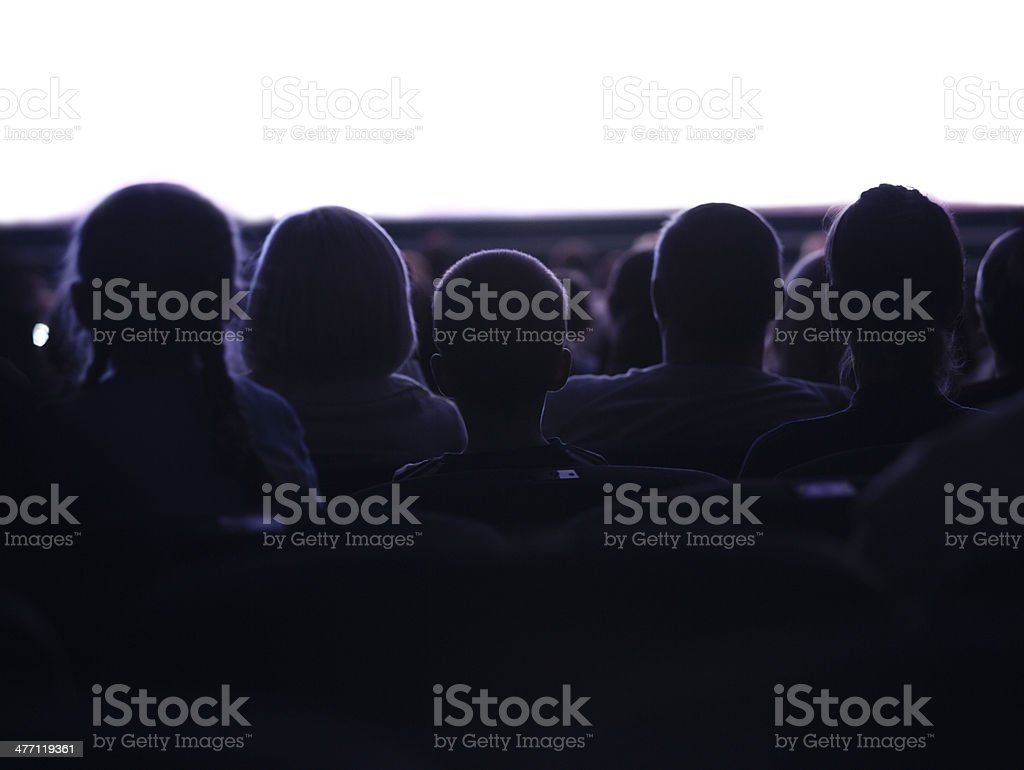 People watching cinema stock photo
