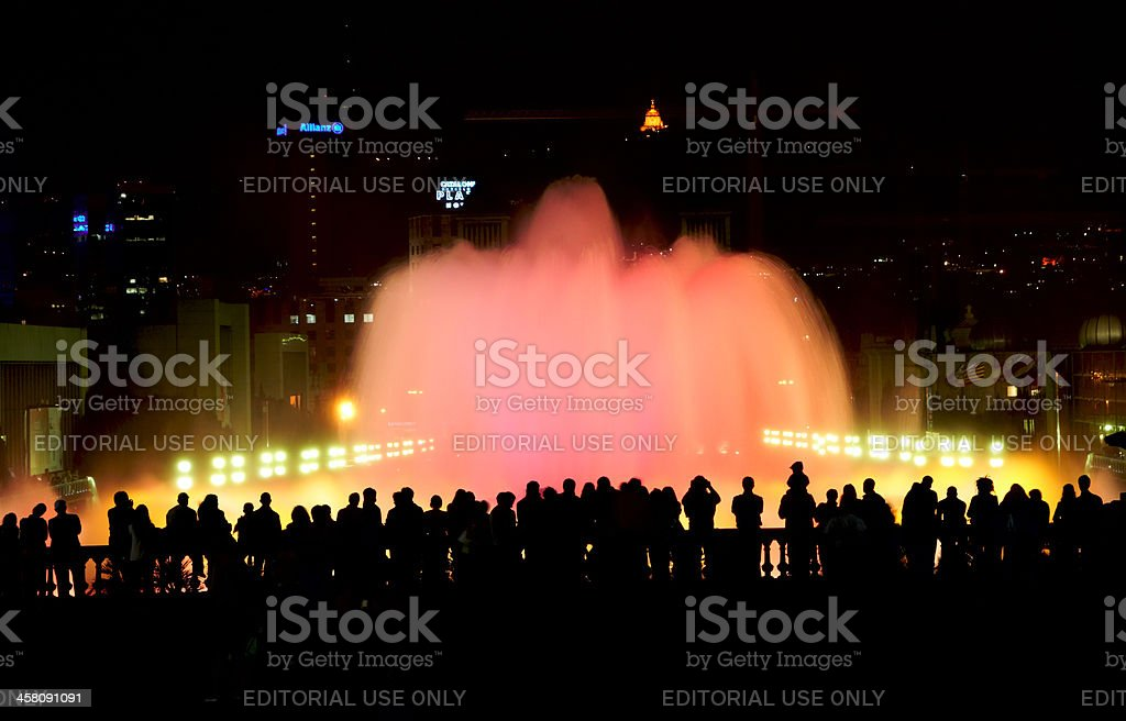 People watching magic 'singing' fountains royalty-free stock photo