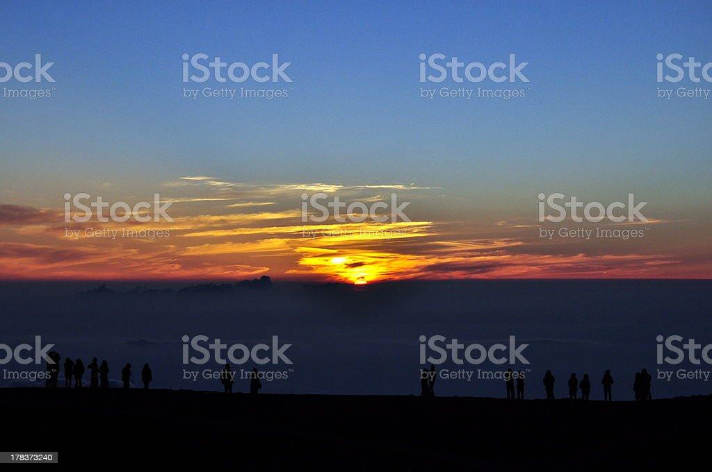 People watching sunset - Haleakala, Maui, Hawaii stock photo