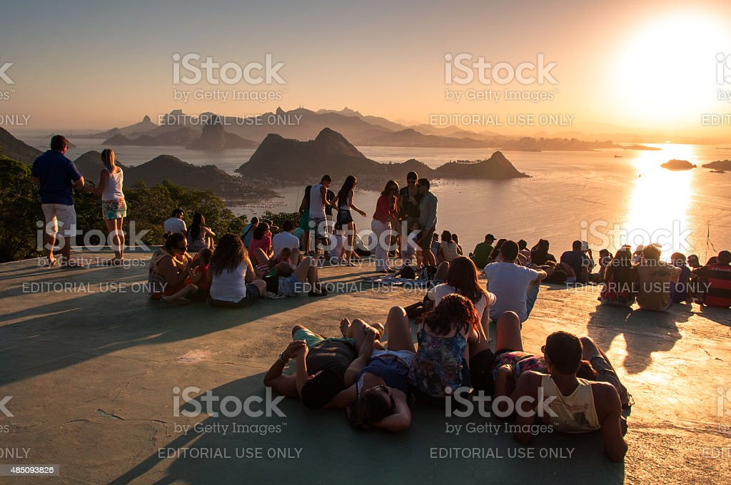 People Watching Sunset in Rio de Janeiro from Niteroi stock photo