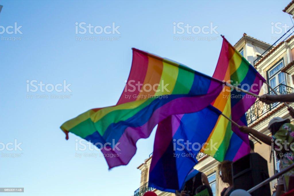 People Waving Lgbt Rainbow Flags At An Gay Pride Parade Stock Photo