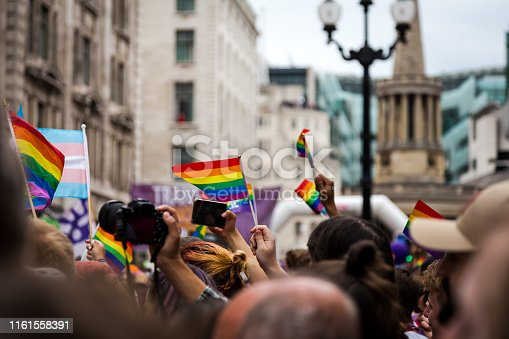 Color image depicting crowds of people celebrating at the London Gay Pride parade in the city centre. People are dressed in colorful outfits, and the rainbow flag - the symbol of the LGBTQ community - is prevalent. Regent Street is thronged with people at this celebratory event. Room for copy space.