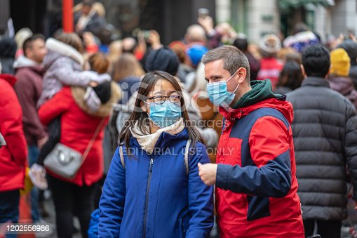1202557009istockphoto People wearing a face masks to protecting themself because of epidemic in China. Selective Focus. Concept of coronavirus quarantine. 1202556986