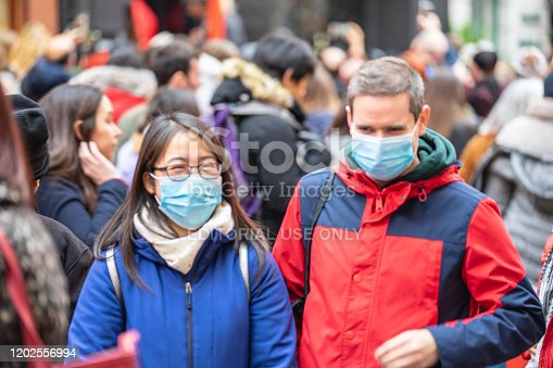 1202557009istockphoto People wearing a face masks to protecting themself because of epidemic in China. Selective Focus. Concept of coronavirus quarantine. 1202556994