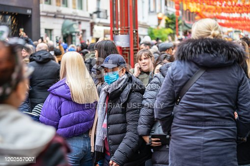 1202557009istockphoto People wearing a face masks to protecting themself because of epidemic in China. Selective Focus. Concept of coronavirus quarantine. 1202557007