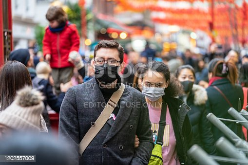 istock People wearing a face masks to protecting themself because of epidemic in China. Selective Focus. Concept of coronavirus quarantine. 1202557009