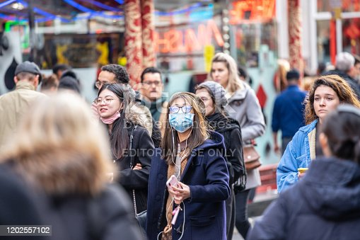 1202557009istockphoto People wearing a face masks to protecting themself because of epidemic in China. Selective Focus. Concept of coronavirus quarantine. 1202557102