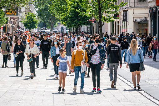 Lyon France, 16 May 2020 : People wearing face masks on the first weekend of the unlockdown in Lyon France