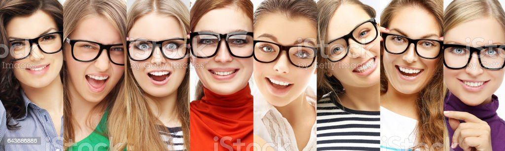 People Wearing Glasses Laughing Stock Photo