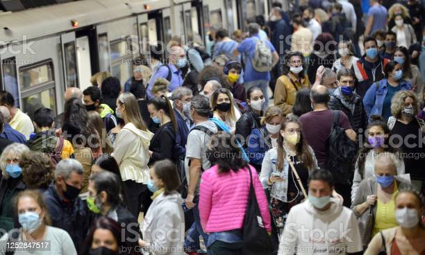 People Wearing Masks In Subway Stock Photo - Download Image Now