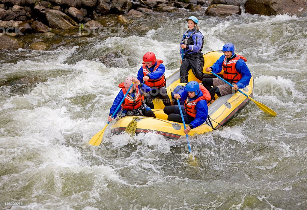 People whitewater rafting on Arkansas River in Colorado royalty-free stock photo