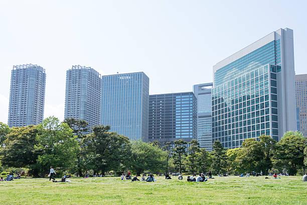 人々にも、公園でのピクニック - 緑 ビル ストックフォトと画像