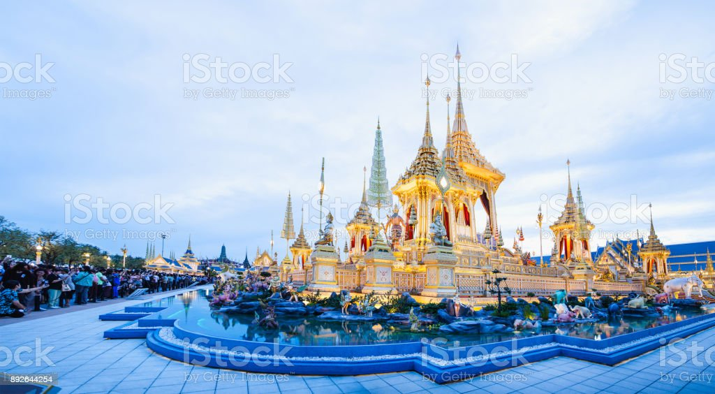 People who visit in Royal Crematorium for the Royal Cremation of His Majesty King Bhumibol Adulyadej Bangkok Thailand stock photo