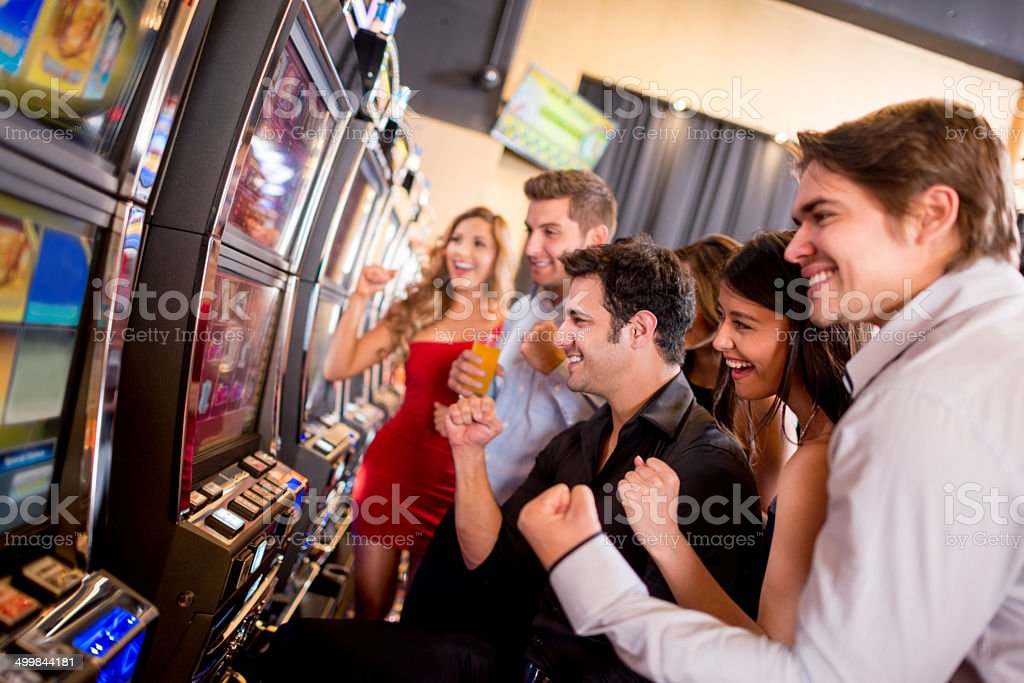 People winning at the casino stock photo