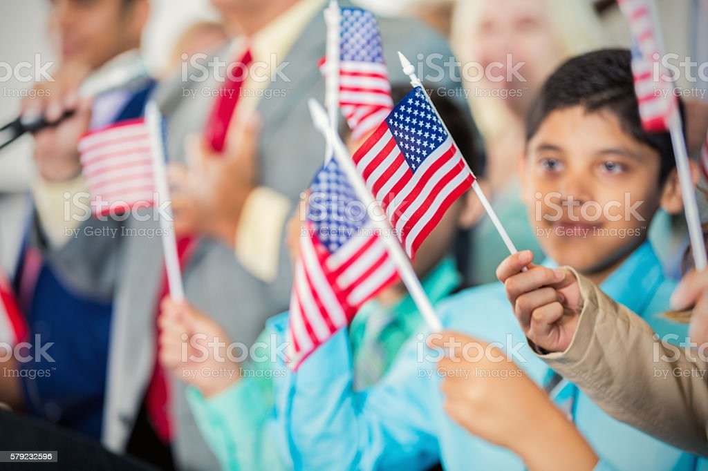 People with American Flags stock photo