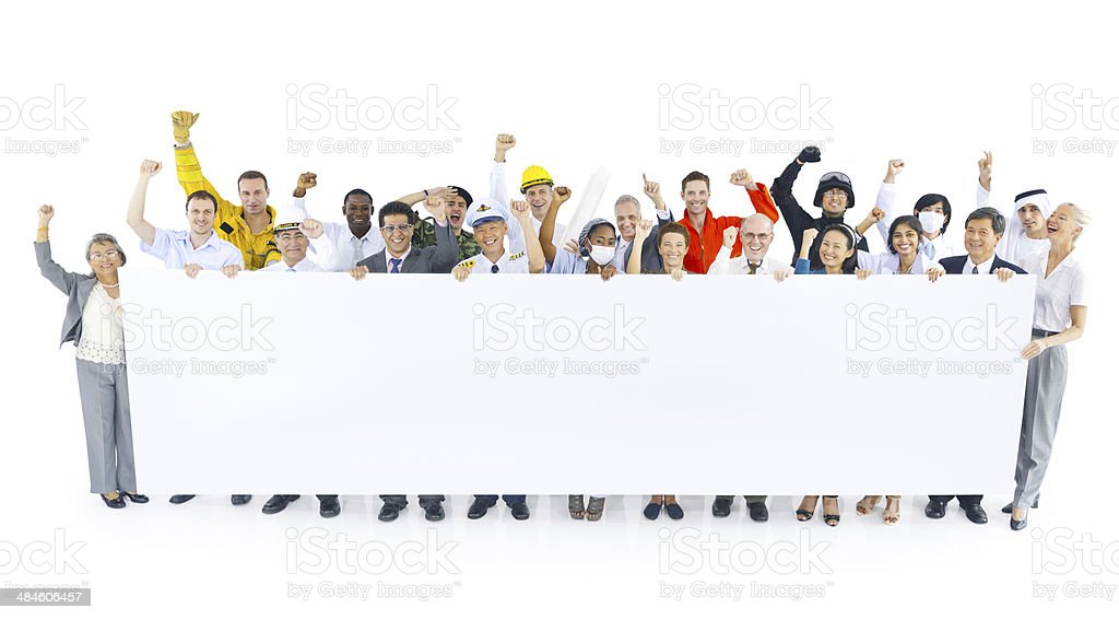 People with Different Occupations Celebrating stock photo
