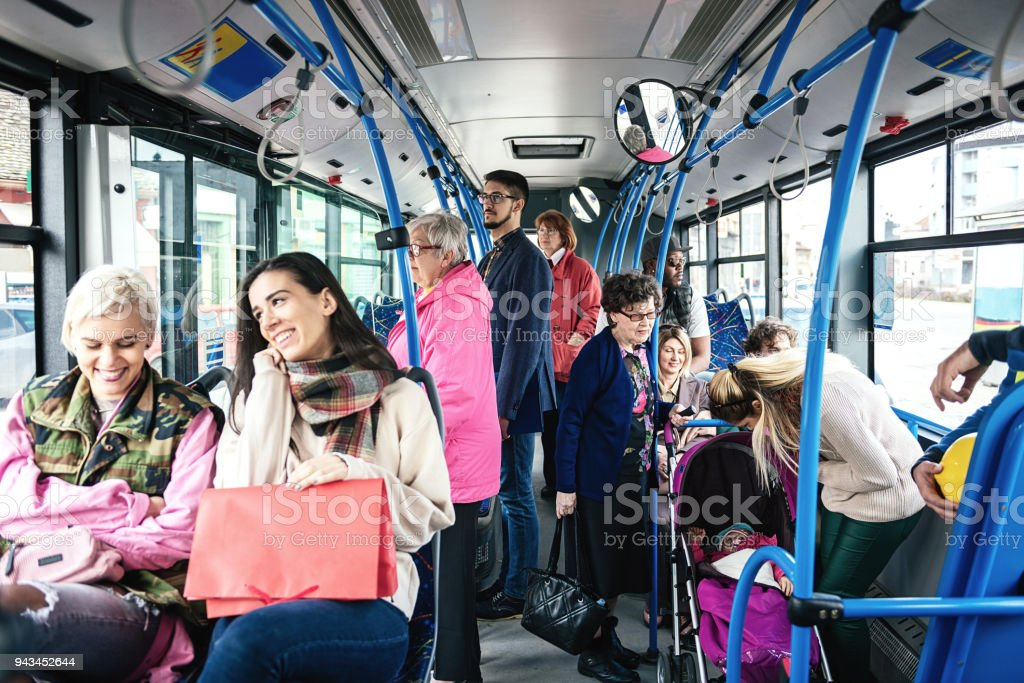 People using public transportation every day. Multi ethnic group of...