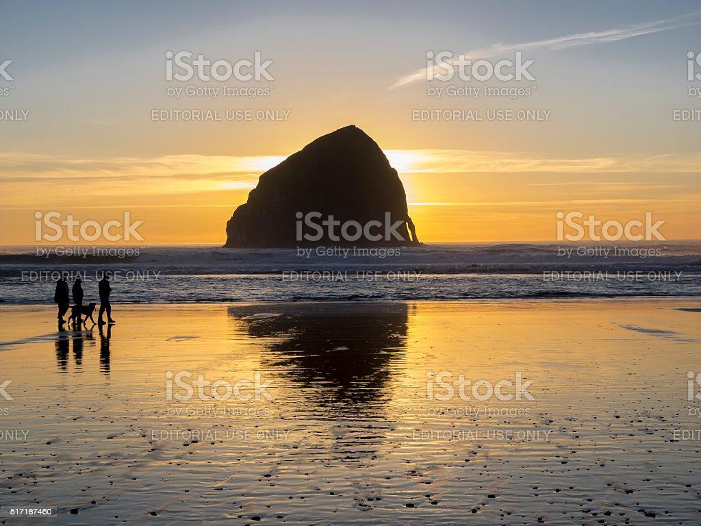 People with Dog Haystack Rock Cape Kiwanda Pacific City Oregon stock photo