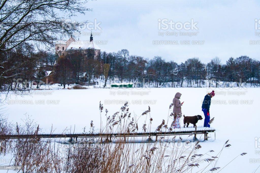 Trakai, Vilnius/Lithuania - January 12 2019: People with dog on a...
