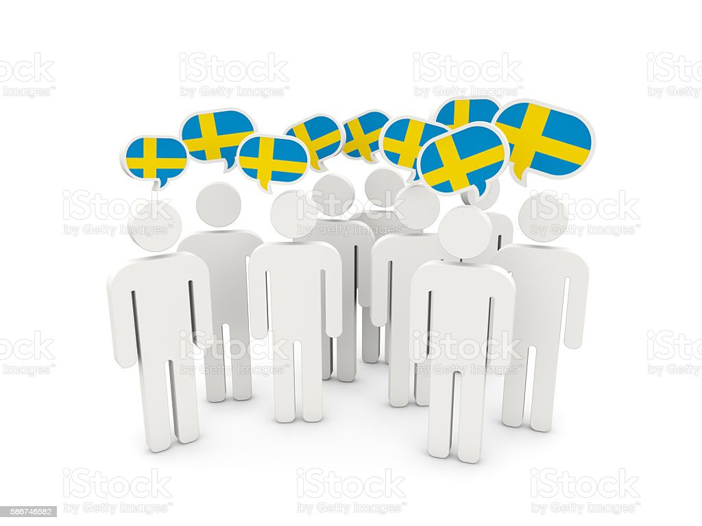 People with flag of sweden stock photo