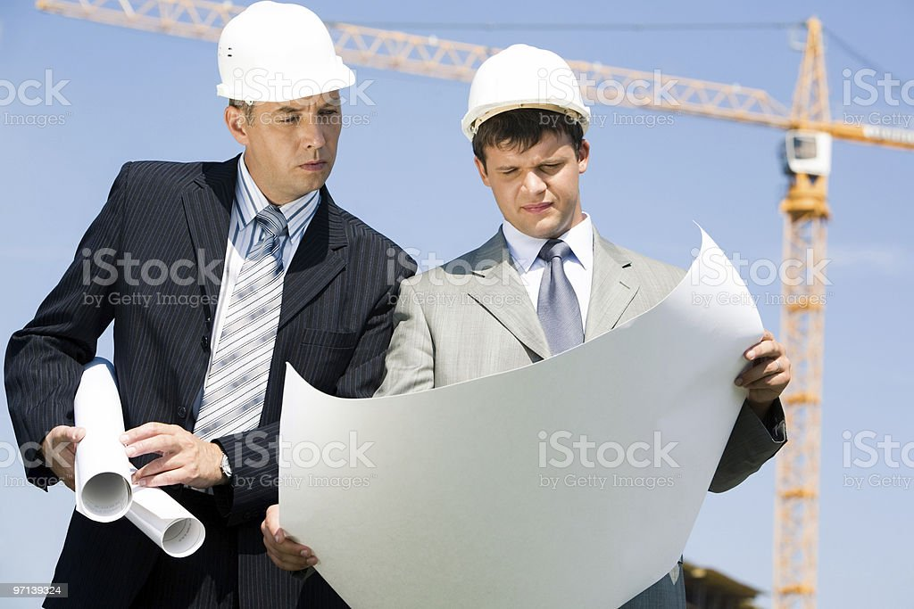 People with helmets royalty-free stock photo